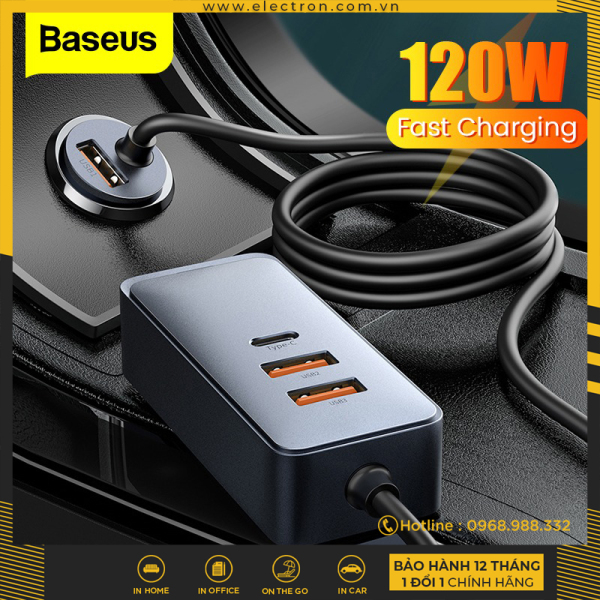 Tẩu sạc nhanh mở rộng 4 Port Baseus Share Together Extention Car Charger 120W (Extention up to 4 Port * 30W, QC/ PD/PPS Fast Charging)