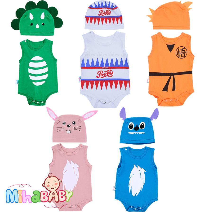 Bộ Bodysuit hình thú ngộ nghĩnh cho bé ( MẪU NGẪU NHIÊN) - Mihababy - BDS_MIX Nhật Bản