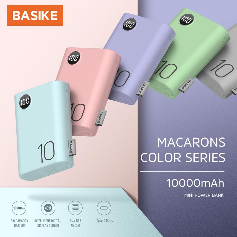BASIKE Sạc Dự Phòng 10000mAh ISạc nhanh Hiển thị kỹ thuật số Pin dự phòng cho iPhone HUAWEI Samsung Xiaomi OPPO Vivo Realme | Đầu vào: Micro usb & Type-C | Đầu ra: USB * 2 Model:PF23P