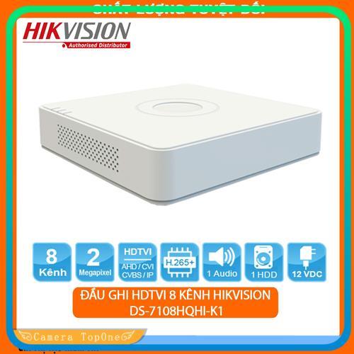 [NHÀ PHÂN PHỐI, BH 2 NĂM, FREESHIP 20K]Đầu ghi hình HD Hikvision 8 kênh DS-7108HQHI-K1 chuẩn H.265+, hỗ trợ 5 loại camera, ghi hình độ phân giải lên đến 3MP