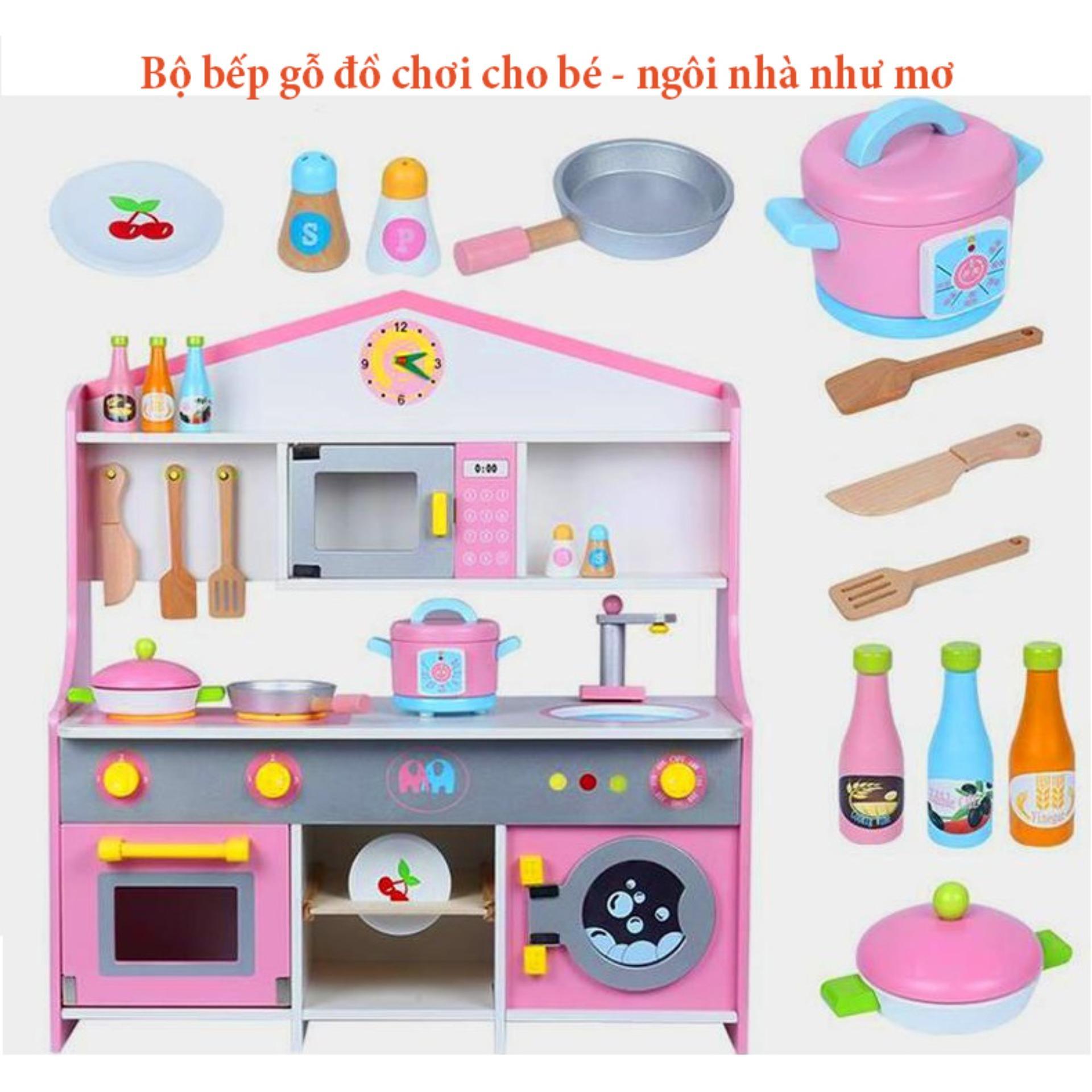 Bộ bếp gỗ đồ chơi cho bé - ngôi nhà như mơ - Căn bếp như mơ - Chất liệu gỗ hoàn toàn thân thiện ( loại 72CM) giá giảm sâu sàn