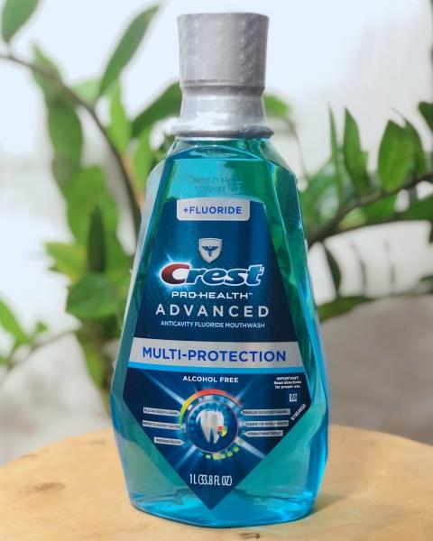 Nước súc miệng CREST Pro-Health Advanced Dung Tích 1L Giúp Bạn Có Được Hàm Răng Khỏe Mạnh Và Hơi Thở Thơm Tho Hàng Nhập Mỹ (Mẫu mới) Crest Pro-Health Advanced Mouthwash, Alcohol Free, Multi-Protection, Fresh Mint, 1 L (33.8 fl oz)
