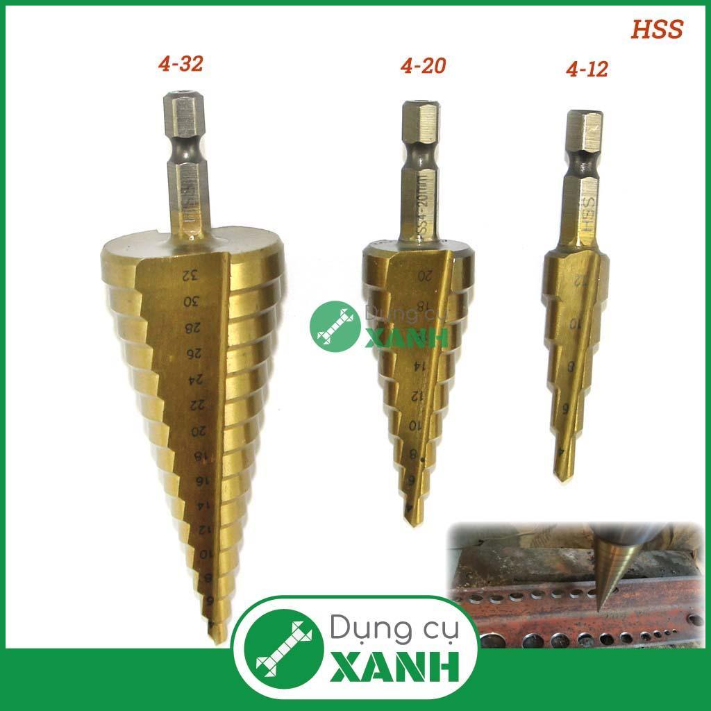 Bộ 3 mũi khoan bước (khoan nón) chuyên khoan kim loại, thép, sắt, inox từ 4-32mm độ cứng 63 phủ CBN