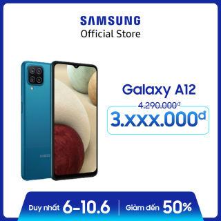 Điện thoại Samsung Galaxy A12 (4GB/128GB) - Cụm 4 camera 48MP - Pin trâu 5.000mAH - Sạc nhanh 15W - Miễn phí vận chuyển - Trả góp 0% - Bảo hành chính hãng 12 tháng