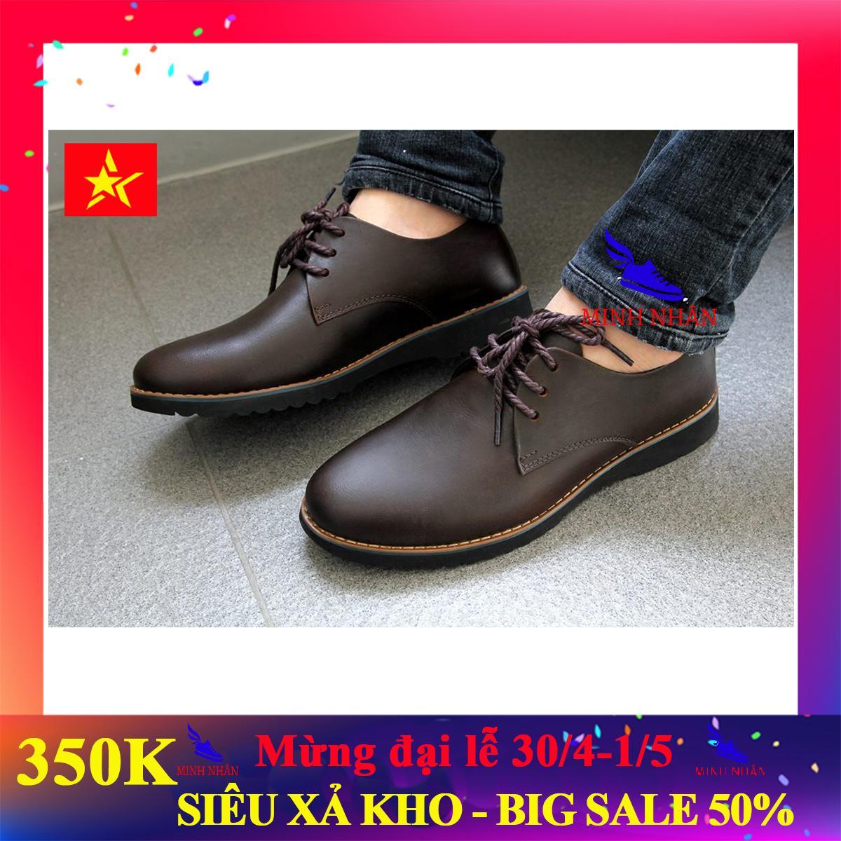 Giày tây nam công sở da bò thật, đế khâu, hàng xuất khẩu (GB-08 Nâu) [Minh Nhân Shop]