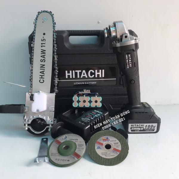 Máy cắt cầm tay dùng pin Hitachi 199V Kèm 2 pin Động cơ không chổi than TẶNG 01 bộ lưỡi cưa xích cắt gỗ + đá mài + đá cắt