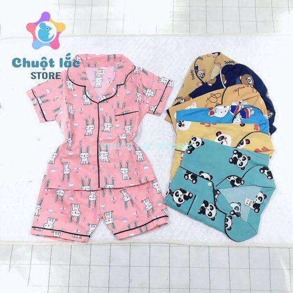 Quần áo bé gái, Bộ pijama cho bé trai bé gái cộc tay size đại cho bé từ 15kg đến 30kg
