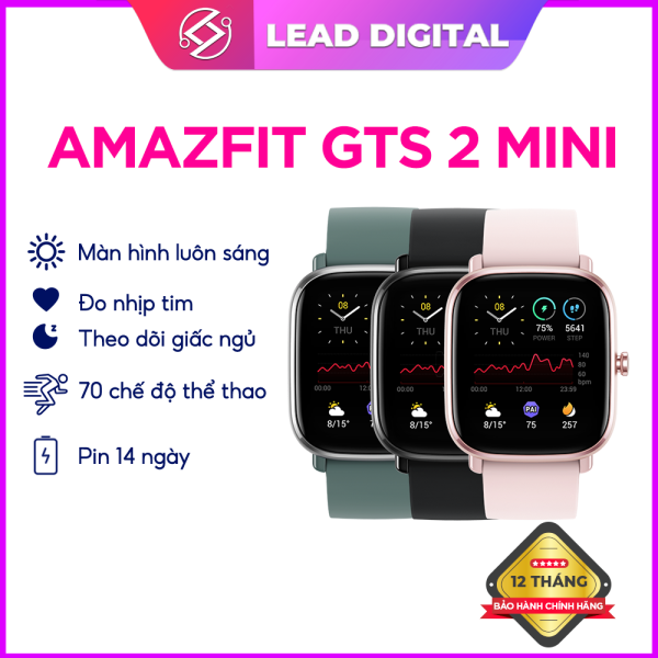 Đồng Hồ Amazfit GTS 2 Mini - Ngôn Ngữ Tiếng Việt - Tích Hợp GPS - Đo Nồng Độ Oxy - Theo dõi Nhịp Tim - Theo Dõi Chu Kỳ Kinh Nguyệt - Bảo hành 12 tháng