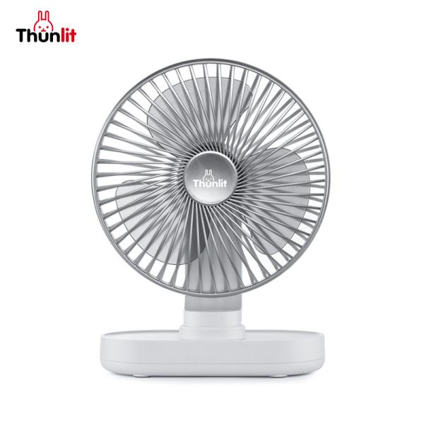 Thunlit Quạt bàn điện Tự động lắc đầu 4000mAh có thể sạc lại 4 tốc độ gió Quạt máy tính để bàn yên tĩnh cho văn phòng ký túc xá