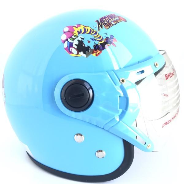 Giá bán Mũ bảo hiểm trùm 3/4 đầu dành cho bé từ 6 đến 10 tuổi - Vòng đầu 52-54cm - Nón bảo hiểm trẻ em kính trong suốt - Nón bảo hiểm trẻ em chính hãng - BKtec - BK32 Xanh dương Mega Man - Bảo hành 12 tháng