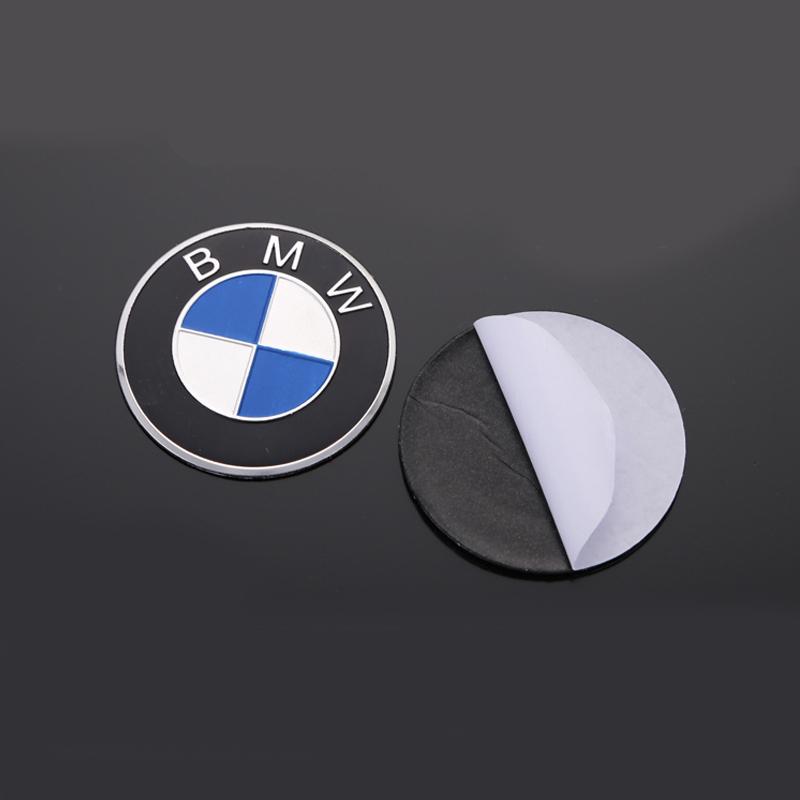 Bộ 2 Logo Tròn BMW nhôm kim Loại 5,5cm phẳng có keo sẵn