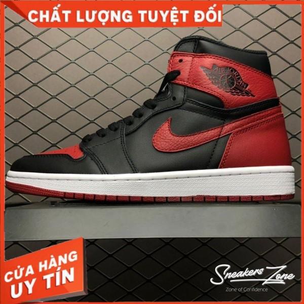 (FREESHIP+HỘP+QUÀ) Giày thể thao AIR JORDAN 1 Retro High BRED Đỏ đen cao cổ cực phong cách