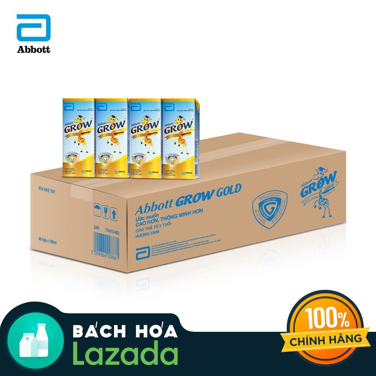 Thùng 48 Hộp Sữa Nước Abbott Grow Gold Hương Vani 180ml Cùng Khuyến Mại Sốc