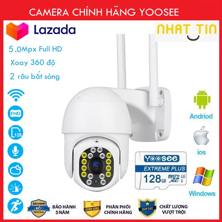 ( Combo Camera + Thẻ 128GB Yoosee Bảo Hành 60 Tháng ) Camera wifi Ptz Xoay 360 Độ chuẩn 5.0 dùng ngoài trời - trong nhà mpx full hd 1080p - hỗ trợ 8 đèn hồng ngoại và 8 đèn led + tặng thẻ xịn 128 yoosee cho mã 520k và không thẻ với mã 420