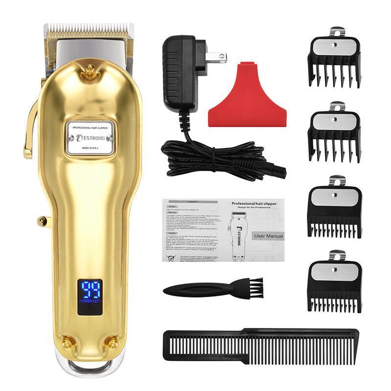 Tông đơ cắt tóc cho salon BESTBOMG pin 2500aMh thời gian sử dụng 5h,có 4 cữ 1,5 va 4,5mm nhập khẩu
