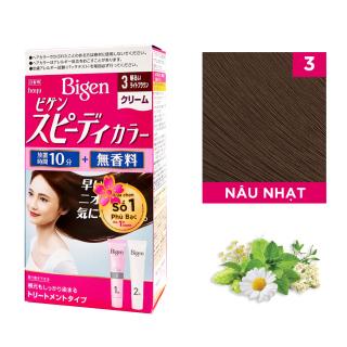 Thuốc nhuộm dưỡng tóc phủ bạc thảo dược Bigen Nhật Nhập Khẩu 100% Nhật Bản Speedy Color Cream 80ml dạng kem - Nâu Nhạt 3 thumbnail