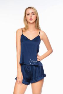 Dreamy - DN02 Đồ bộ ngủ mặc nhà lụa cao cấp dai dây quần đùi viền bèo dể thương quyến rũ, đồ bộ mặc nhà mát mẻ, đồ bộ mặc nhà dể thương màu xanh đen thumbnail