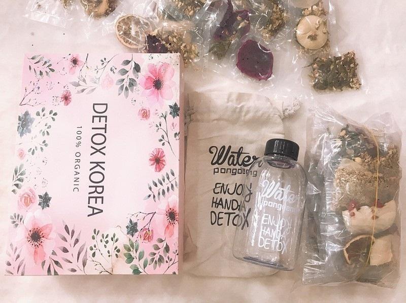 Set 30 goi Detox, tặng 1 bình nhựa Pongdang 600ml -1000mlkèm túi vải sành điệu