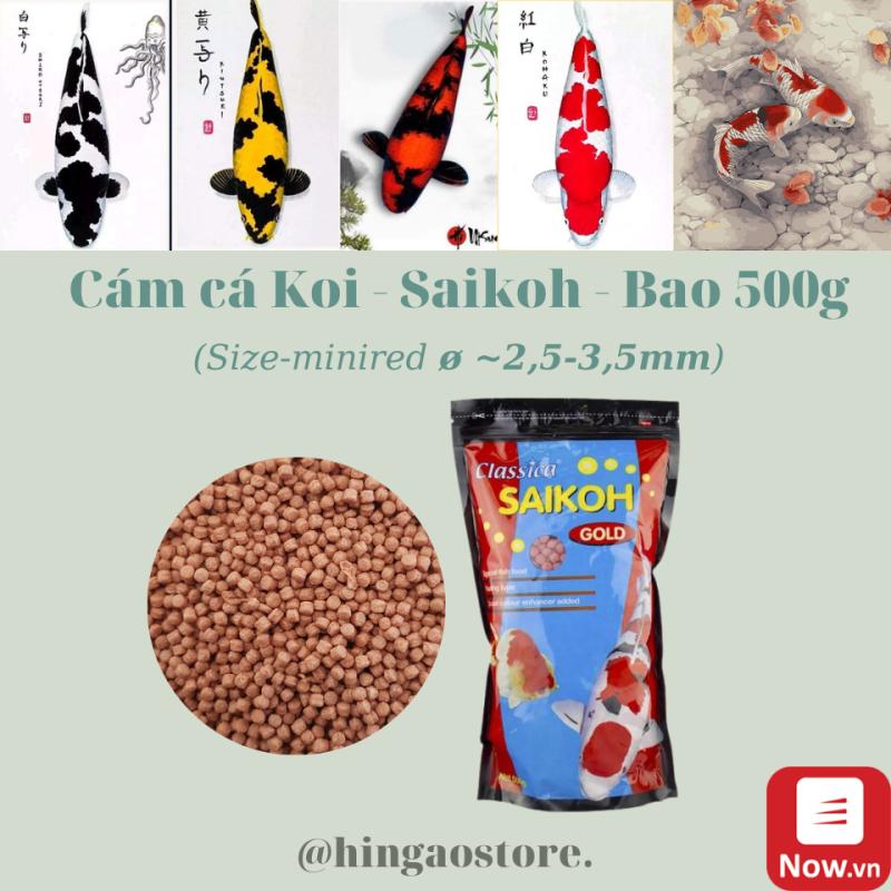 [HCM]Cám Cá KOI - SAIKOH - size minired ~ 25-35mm Bao 500g - Thức ăn cá koi   Hingaostore.