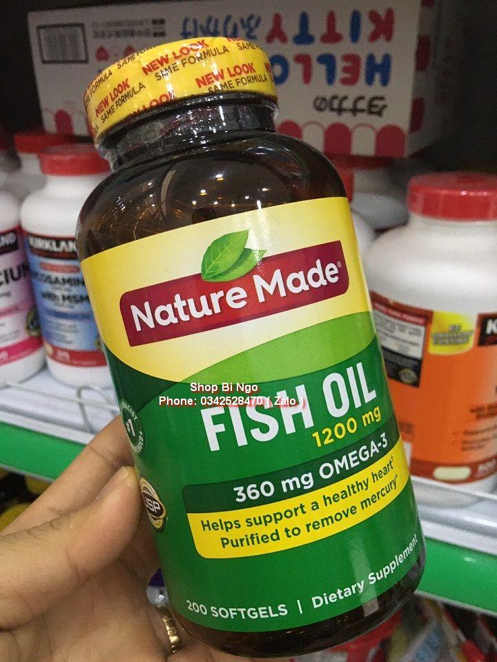 Viên uống Nature Made Fish Oil 1200mg 360mg 200 viên. Có bill mua hàng từ Mỹ. cao cấp