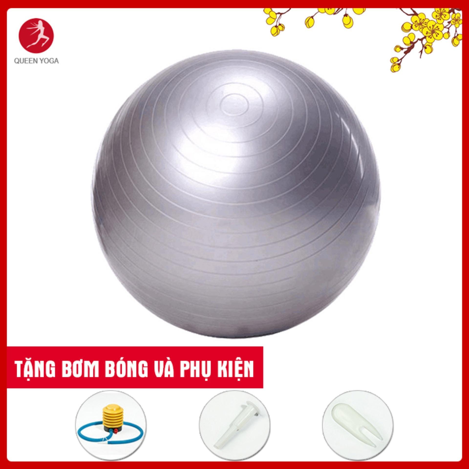 Bóng tập Yoga cao cấp Queen Yoga 65cm dày 2mm chống nổ - Tặng bơm bóng và phụ kiện