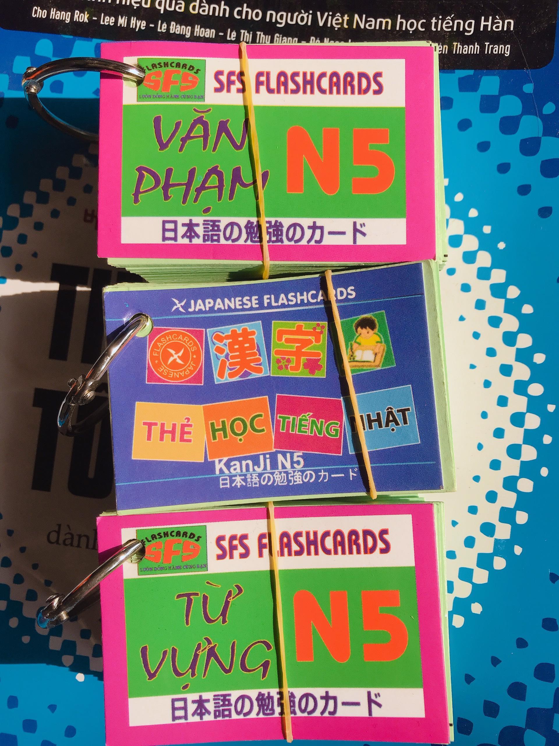 TRỌN BỘ FLADCARD  N5 Thẻ Học Tiếng Nhật N5 Trọn Bộ -3 Xấp ( Kanji, Từ Vựng , Ngữ Pháp) Khuyến Mãi Sốc