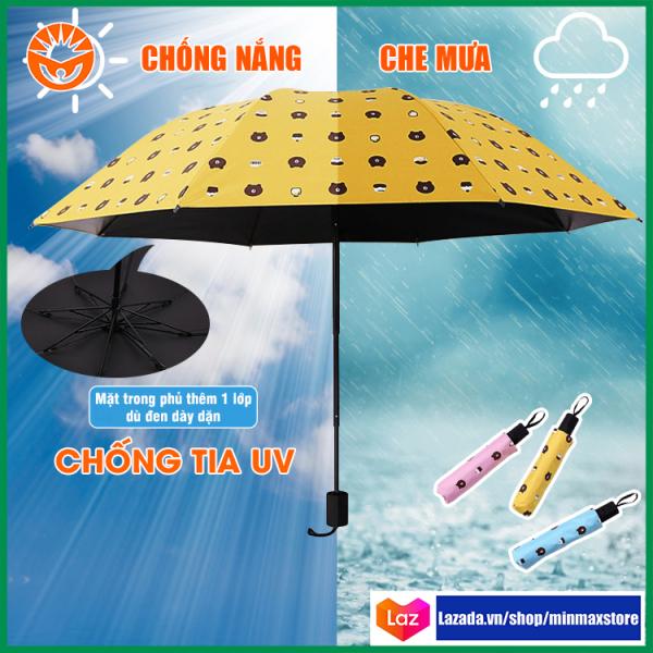 Giá bán Ô vải dù che mưa che nắng chống tia UV mạnh in họa tiết hình mặt gấu dễ thương, có thể gấp gọn bỏ túi siêu tiện lợi - MM02