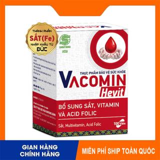 [Hàng Chuẩn GMP] Viên Uống Bổ Sung Sắt (Fe) Acid Folic, Vitamin C, E, B6 Cho Người Có Nguy Cơ Thiếu Máu - Viên Uống Bổ Máu SHINPOONG VACOMIN HEVIT- Hộp 100 Viên thumbnail