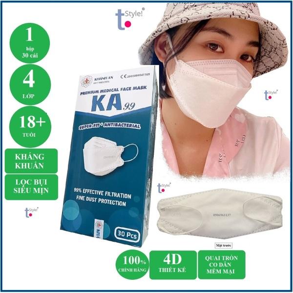 [Chính Hãng, Bản Đặt Biệt] Hộp 30 cái Khẩu trang 4D Khánh An KA99 - 4 lớp kháng khuẩn - Lọc bụi siêu mịn -  Ôm khít mũi miệng