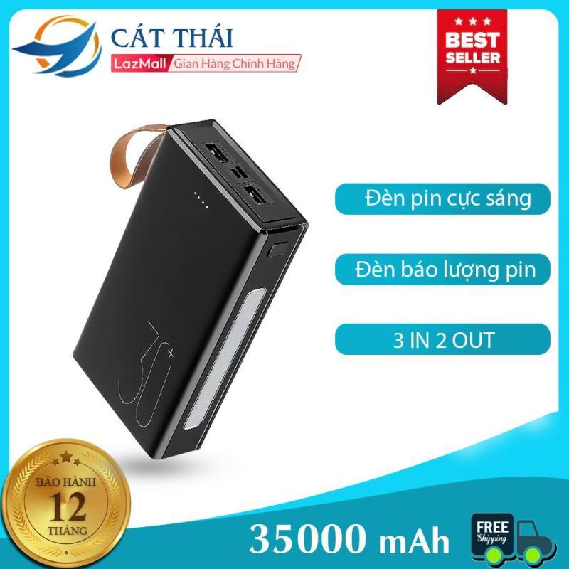 Giá Sạc dự phòng Cát Thái 3C 35000mAh dung lượng lớn 2 cổng USB 2 cổng input Type-C và Micro kèm đèn pin led cực sáng đèn chỉ thị báo lượng pin có dây treo kèm dễ dàng mang theo thích hợp cho cả Android lẫn Iphone
