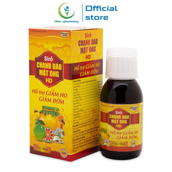 Siro Chanh Đào Mật Ong HD giúp bổ phế, giảm ho giảm đờm, giảm đau rát cổ họng - Chai 100ml