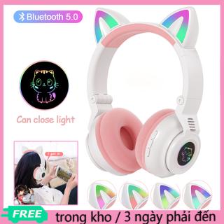 Tai Nghe Mèo Bluetooth Chụp Tai Có Mic đàm Thoại, Tai Nghe Tai Mèo Bluetooth Chống ồn Có Thể Gập Gọn Lại Tiện Lợi, Tai Nghe Thỏ Dễ Thương Có đèn Led thumbnail