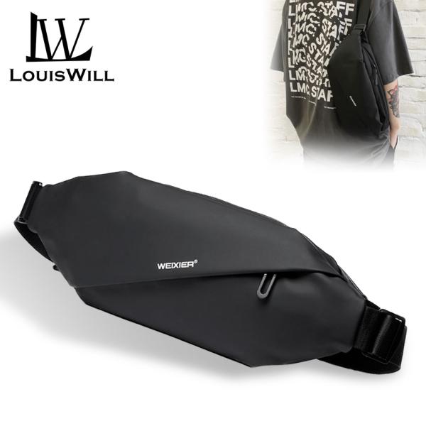 Túi đeo chéo đeo vai thiết kế đơn giản chống nước dành cho nam quai đeo có thể điều chỉnh tiện lợi với khóa kéo giấu trong LouisWill