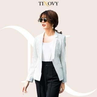 Áo Vest Blazer Nữ Tinovy Kẻ Sọc Dài Tay Hai Lớp Cao Cấp H0892 thumbnail