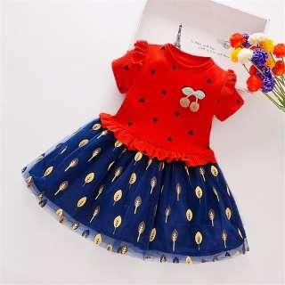 Đầm Chắp Vá Họa Tiết Lá Trái Tim Ngắn Tay Thường Ngày Mùa Hè Cho Bé Gái Váy Xòe Công Chúa Cho Trẻ Em Trẻ Mới Biết Đi