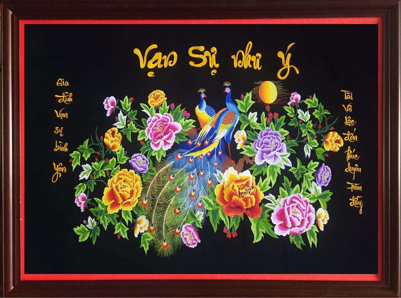 [tranh ThÊu Vi TÍnh] Tranh Treo TƯỜng PhÒng KhÁch ThÊu HÌnh ĐÔi CÔng ChỮ VẠn SỰ NhƯ Ý ThÀnh PhẨm Kt 80x120 Cm By Min Kids.