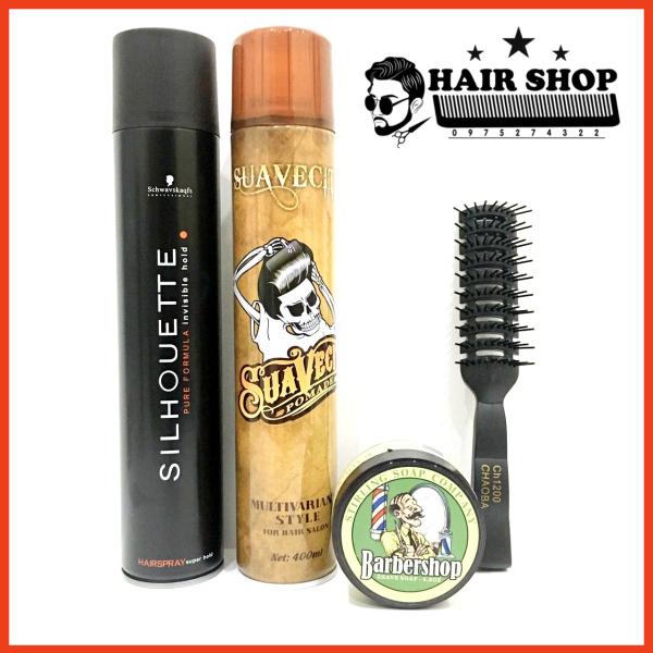 [ Siêu Tiết Kiệm ] 2 Gôm Xịt Tóc Silhouette 400ml + Suavecito 400ml +  Sáp Vuốt Tóc BarberShop Shave Soap Tặng Lược