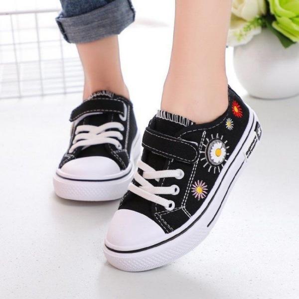 Giá bán Giày bata, giày thể thao quai dán cho bé trai bé gái hình hoa cúc 3d giày tết cho bé