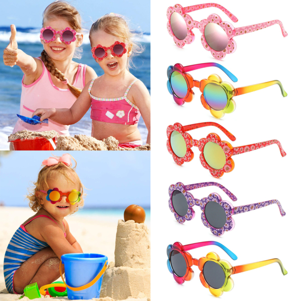 Giá bán COMEUPSTORE14E5 Outdoor Travel Photography Colorful Flower Shaped Sunglasses for Toddler Girls Boys Kids Sunglasses Round Flower Sunglasses