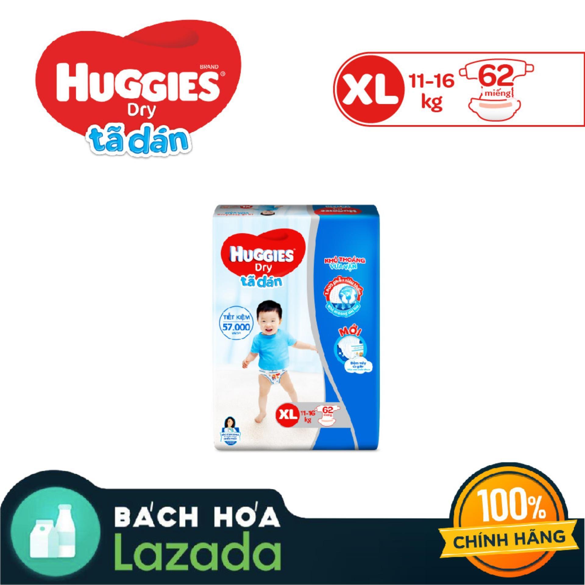 Tã/bỉm Dán Huggies Dry Super Jumbo XL62(Đệm Mây Co Giãn) - Gói 62 Miếng (Cho Bé 11kg-16kg) - Cam Kết HSD Còn ít Nhất 10 Tháng Đang Ưu Đãi Giá