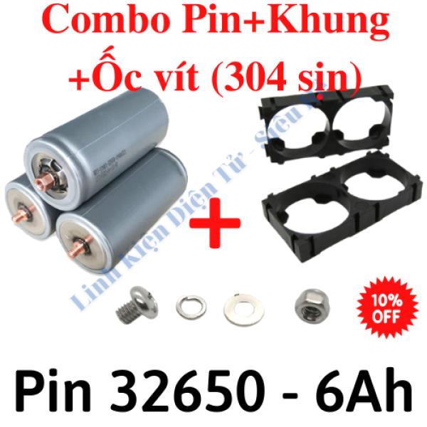 Pin sắt 32650 6000mah,Khung pin 32650, Bộ ốc vít m4 (304), nhiều lựa chọn