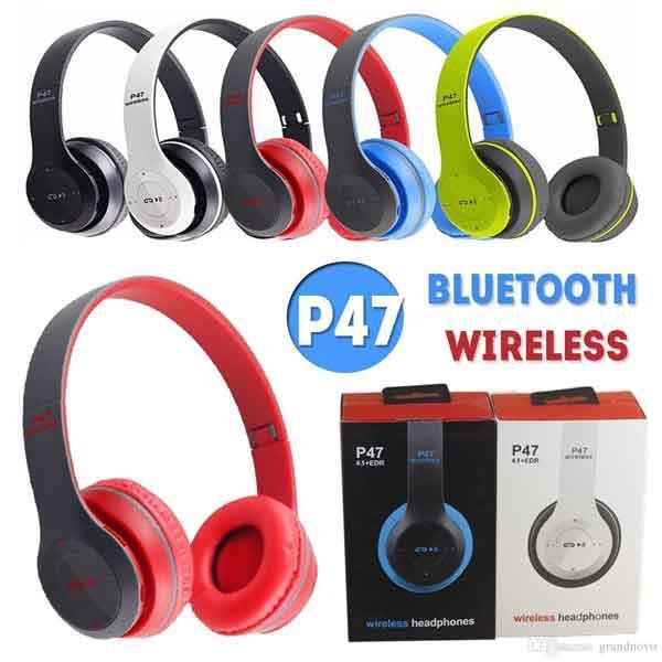 Tai nghe chụp tai cao cấp có khe thẻ nhớ Bluetooth P47 - Âm Thanh Đỉnh Cao ( ghi phối đỏ)