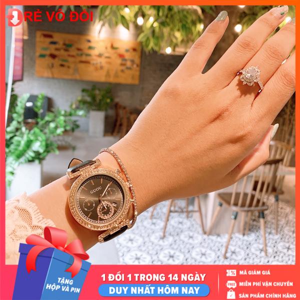 Đồng hồ nữ GUOU mặt đính đá sang trọng dây da mềm mại cực đẹp - -  Tặng hộp và pin dự phòng - Sam Shop bán chạy