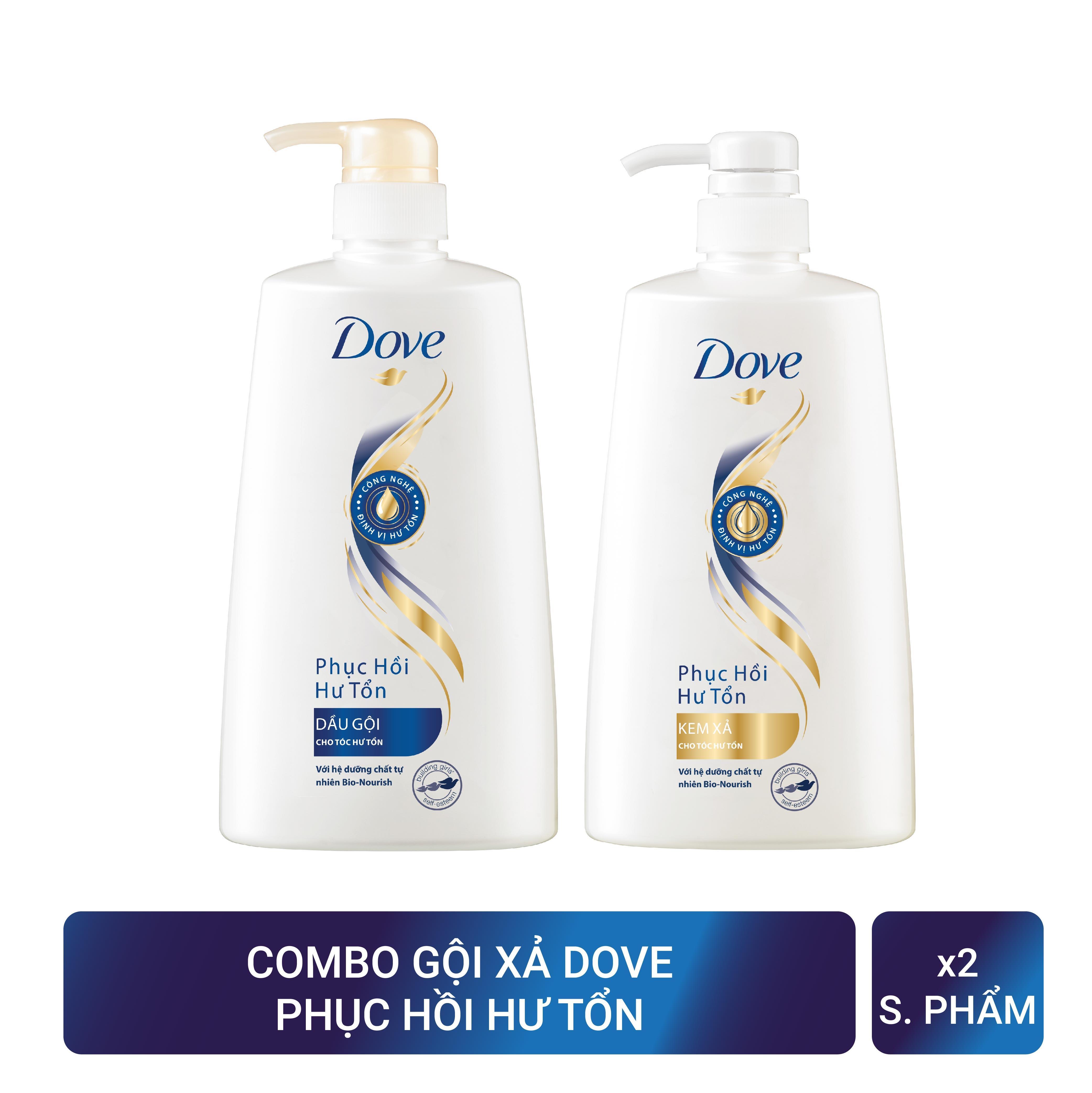 Combo Phục hồi hư tổn Dove dầu gội 650g và Kem xả 620g