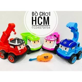 [CỰC ĐẸP & CHẤT LƯỢNG] Đồ chơi lắp ráp xe công trình robocar poli 4 chiếc kèm tua vít cho bé thích lắp ghép mô hình xe ô tô, xe ben, xe xúc, xe rơ móc thumbnail