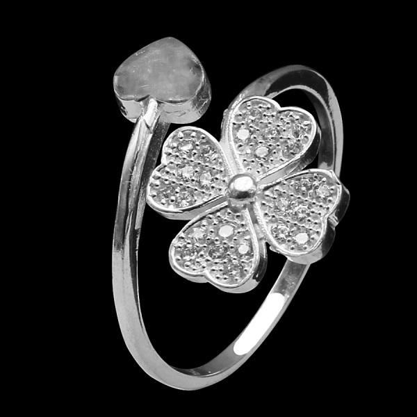 Nhẫn nữ Bạc Hiểu Minh nu384 bạc ý cỏ 4 lá