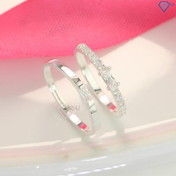 Nhẫn đôi tình yêu bạc 925 đính đá khắc tên ND0419 - Trang Sức TNJ