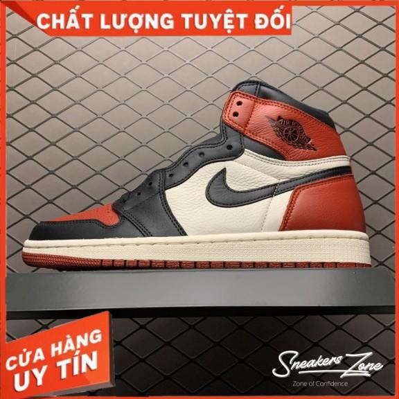 (FREESHIP+HỘP+QUÀ) Giày Thể Thao AIR JORDAN 1 Retro High Bred Toe Màu đỏ Trắng Cao Cổ Cực Phong Cách giá rẻ