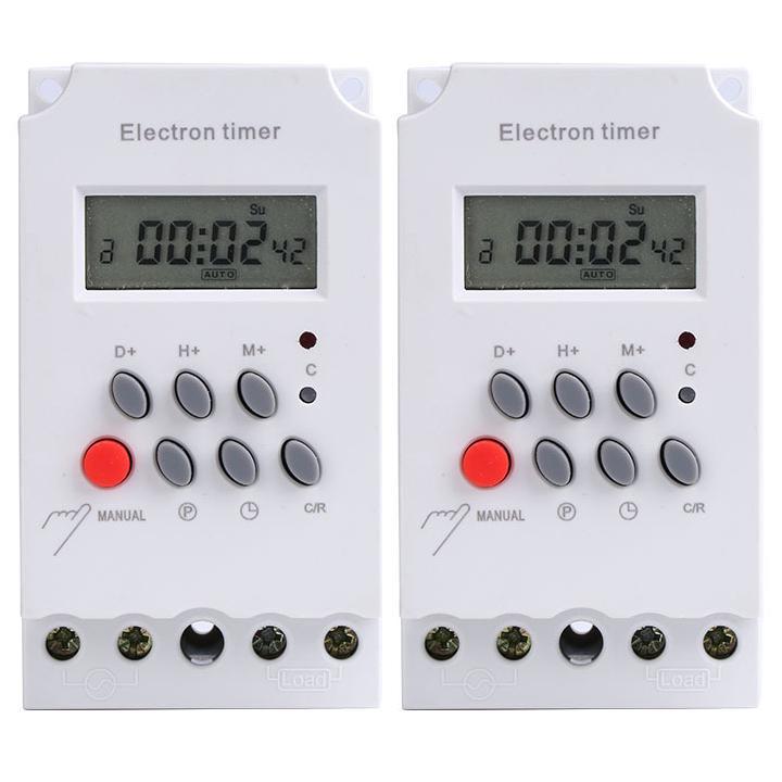 Bộ 2 công tắc hẹn giờ KG316 T-II, công suất 25A/220V có khóa phím, timer hẹn giờ điện tử
