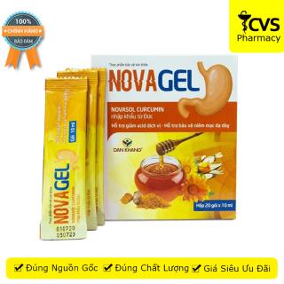 Novagel Nova gel cvspharmacy Hộp 20 gói, Hỗ trợ giảm đau dạ dày, bảo vệ niêm mạc dạ dày thumbnail